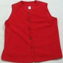 Lands' End Red Fleece Vest Jacket Coat Women's Button Front Woman's Large 14-16 Photo