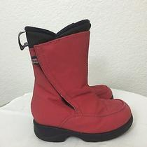 Lands End Red Snow Boots Waterproof Kids Sz 9 Easy on Pull Apart Velcro Closure Photo