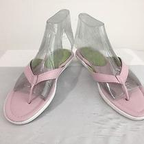 Lands' End Sandals Thongs Pink W/green Size 7b Photo