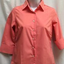 Lands End Shirt Womens Petite Broadcloth Coral Blush Pink Top Size 00p New T04 Photo