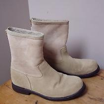 Lands End Sz 8.5 D Tan Faux Suede and Fleece Ankle Boots Zipper in Back Flats Photo