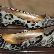 Lands End Sz 8 Cute Patnet Gen Leather Leopard Print Ballet Flat Italy Ec Ln Photo