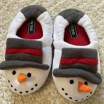 Lands End Toddler Fleece Snowman Slippers 8 Frosty Winter Christmas Boy Girl Photo