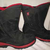 Lands' End Winter Snow Boots Black W/red Fleece Lining Size 2m Photo