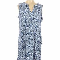 Lands' End Women Blue Casual Dress L Photo