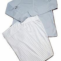 Lands End Women Pajama Set Knit Long Sleeve Blue Tee Striped Pants - S Photo