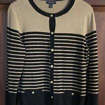 Lands End Womens M (10-12) L/s Supima Cotton Button Sweater Cardigan Tan/black Photo