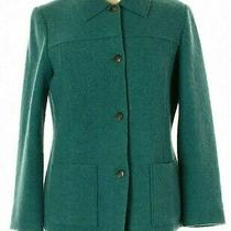 Lands' End Women's Size 6 Pea Coat Green Wool Jacket Buttoned Front Pockets Euc Photo