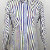 Lands' End Women's Striped Button Down 100% Cotton Work Dress Shirt Sz 12 Photo