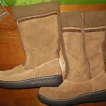 Lands End Womens 8.5b Snow Trekker Boots Suede Leather Mid Calf Chestnut Brown Photo