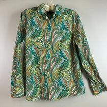 Lands End Womens Button Shirt Size 16 Teal Green Paisley No Iron Pinpoint Oxford Photo