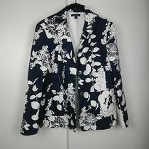 Lands End Womens Floral Blue White Blazer Jacket Size 14 Plus Size Photo