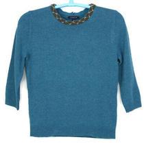 Lands End Womens Lambs Wool Blend Sweater Size Medium M 10 12 Blue Teal Beaded Photo