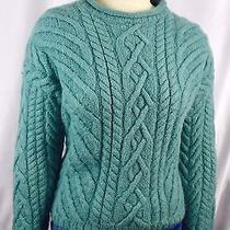 Lands End Wool Cable Knit Fishermans Sweater Aran Sz L Made in England Seafoam Photo