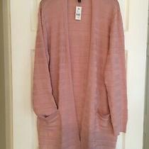 Lane Bryant 18/20 Womens Cardigan Blush Pink Open Front Long Pockets Knit New  Photo