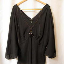 Lane Bryant 3x Black Dolman Asymmetrical Sleeve Blouse 26 28 Necklace v-Neck Photo