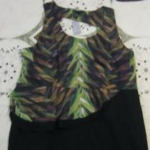 Lane Bryant Black Green Brown Side Peplum Dress Women's Size 22 New With Tag Photo