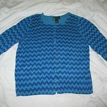 Lane Bryant Blue Longsleeve Thin Button Sweater 16 Photo