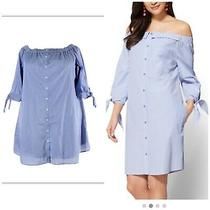 Lane Bryant Blue White Pin Stripes Short Mini Shirt Tunic Dress Plus Size 22 24 Photo