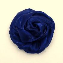 Lane Bryant Brooch Hair Clip and Pin in One Floral Fabric Navy Blue Accessory  Photo