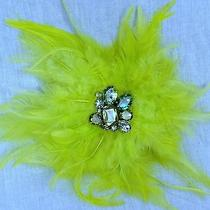 Lane Bryant Crystal Neon Yellow Brooch Rhinestone Clip Hair Pin Feather Sparkle Photo
