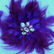 Lane Bryant Feather Clip Rhinestone Brooch Sparkle Crystal Bling Berry Purple Photo