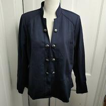 Lane Bryant Jacket Coat Blazer Size 14 Navy Blue Stretch Silver Design Button Photo