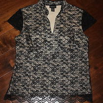 Lane Bryant Ladies Plus Size 14/16 Shirt Black Lace Short Sleeve Formal Evening Photo