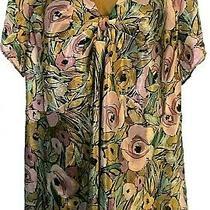 Lane Bryant Lot 22 / 24 Slinky Black Pencil Skirt & Size 22 Floral Satiny Blouse Photo