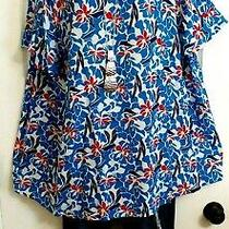 Lane Bryant Nwt 50 Blue Floral Keyhole Back Crinkle Tunic Top Plus 22/24 2x/3x Photo