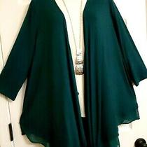 Lane Bryant Nwt Swing Draping Chiffon Hem Jacket Top Plus 14/16 1x Jewel Green Photo