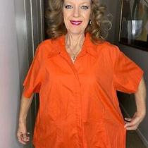 Lane Bryant Orange Button Front Short Sleeve Shirt Top Plus Size 22 / 24 Cotton Photo