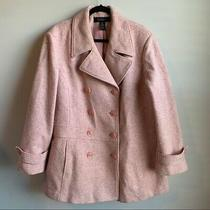 Lane Bryant Pink Tweed Double Breasted Wool Blend Pea Coat Size 22 24 Winter Photo