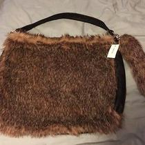 Lane Bryant Rabbit Fur Large Purse/pocketbook Tote Hobo With Rabbit Tail Nwt Photo