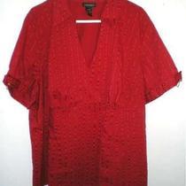 Lane Bryant Red Shadowstripe Blouse Size 26/28 Gently Worn Photo