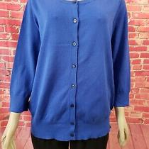 Lane Bryant Royal Blue Button Up Women's Cardigan Sweater 18/20  3/4 Sleeve Nwt Photo