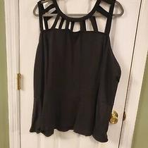 Lane Bryant Size 26/28 Black Peplum Blouse With Cage Neck Photo