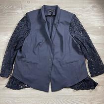 Lane Bryant the Bryant Blazer Size 28 Lace Sleeve Jacket Navy Blue Career K1 Photo