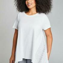 Lane Bryant White Eyelet Cotton Swing Boho T-Shirt Plus Size 22/24 3x Nwt Photo