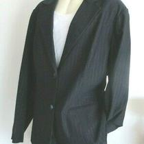 Lane Bryant Women's Size 26 Dark Blue Pin Stripe Blazer Jacket Fully Lined Nwt  Photo