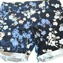 Lane Bryant Womens Bermuda Shorts Size 28 High Waisted Blue Floral Plus Size Nwt Photo