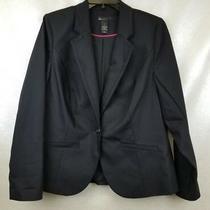 Lane Bryant Womens Blazer Jacket Black Button Pockets Lined Vent Size 14  Photo