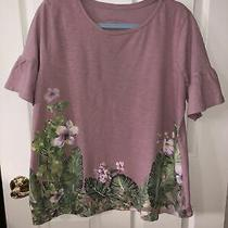 Lane Bryant Womens Plus Blouse Top - Pink Green- Bell Sleeve - 14/16 Photo