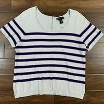 Lane Bryant Womens Plus Size 22 / 24 Gray Black Striped Thin Knit Sweater Top  Photo