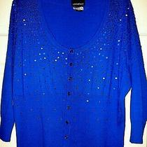 Lane Bryant Womens Sz 22/24 Blue Sequined Knit Button 3/4slv Cardigan Sweater  Photo