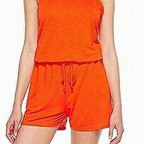 Lanston Womens Romper Orange Size Xs Strappy Back Elastic Waistband 89 379 Photo