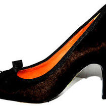 Lanvin 1005 Nib Brown Pony Fur & Grosgrain Heels Pumps 36 Photo