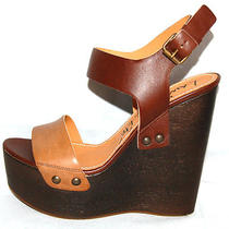 Lanvin 1075 Nib Brown & Tan Leather Strappy Wood Wedges 41 Photo