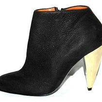 Lanvin 1085 Nib Black Leather Chrome Cone Heel Booties 35 Photo