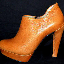 Lanvin 1093 Nib Camel Textured Leather Platform Booties 36 Photo